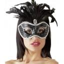 Melna karnevāla maska ar akcentiem un spalvām