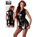 Black Level melna lakādas minikleita