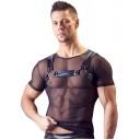 Svenjoyment melns caurspīdīgs krekls ar metāliska spīduma siksnām