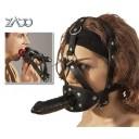 Zado siksnu maska ar mutes aizbāzni un dildo