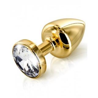 42 Diogol Anni Swarovski Gold Butt plug